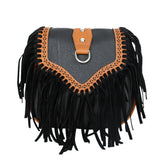 PU Leather Women Bags Vintage Boho Tassel Messenger Bag
