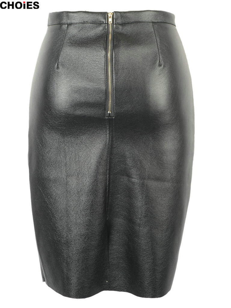 CHOIES Women Black Faux Leather Split Zipper Back High Waist Mini Pencil Skirt - Hippie BLiss
