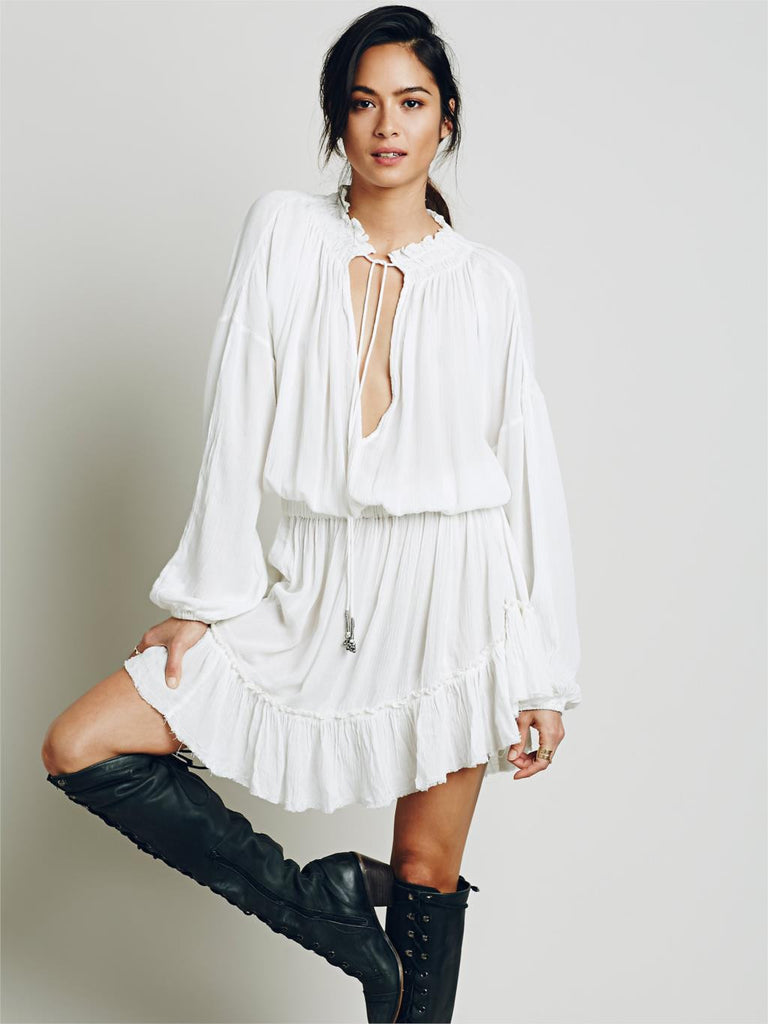 Cotton Long Sleeve V-neckline Boho Dress - Hippie BLiss