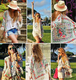 Beach Boho Chic Fringe Women Floral Print Kimono - Hippie BLiss