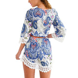Boho Chic Print and Corchet Details Women 3/4 Sleeve Beach Dress Floral Print Lace Summer Chiffon Mini Dresses - Hippie BLiss