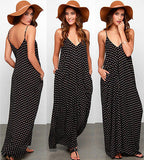Women Summer Boho Long Maxi Dresses Casual Dots Beach Dress