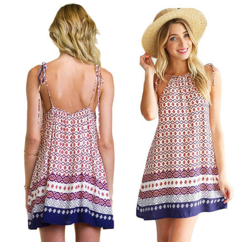 Boho Dress Summer Loose Printed Halter Style Sleeveless Hippie Mini