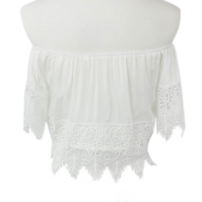 Sexy Boho Lace Crochet Beach White Blouse Off Shoulder Crop Top