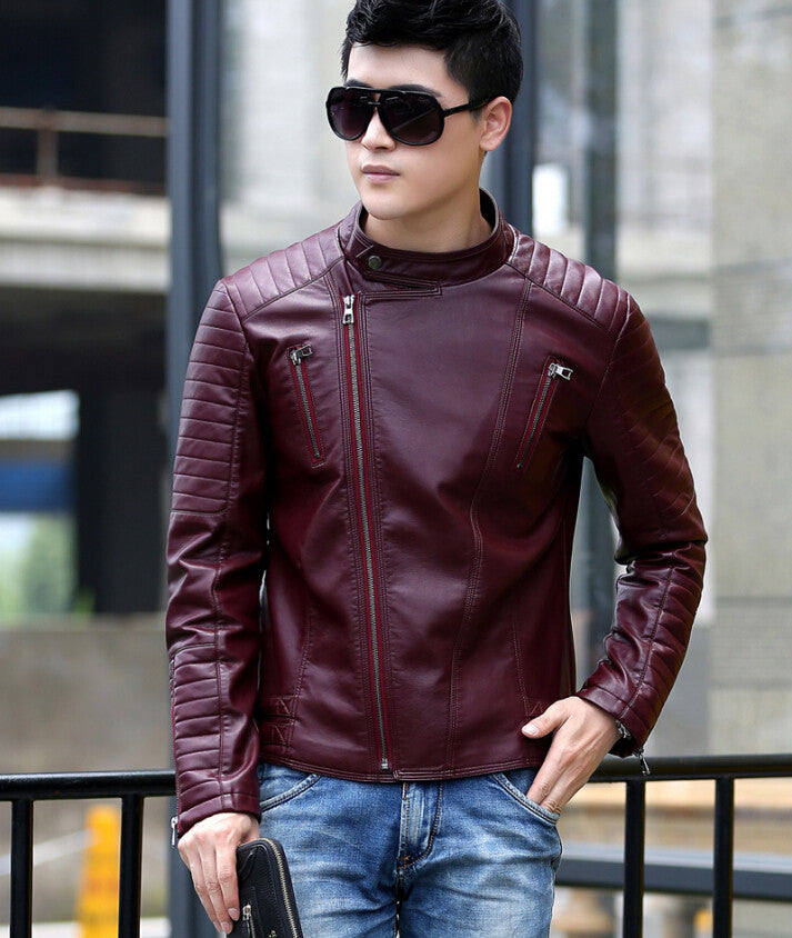 Men's leather clothing outerwear Spring motorcycle leather jacket men leather - Hippie BLiss