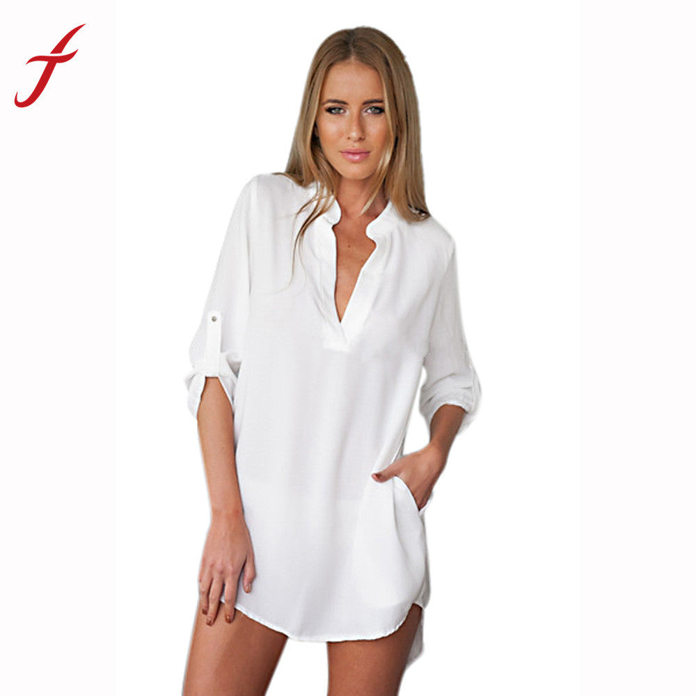 White Shirt Dress Boho Fashion