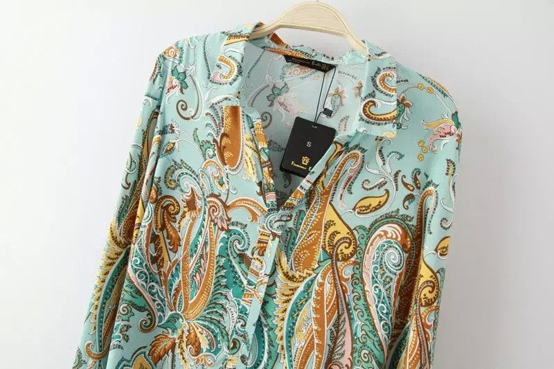 Boho Chic Long Sleeve Vintage Blouse Tunic Turn-down Collar Print - Hippie BLiss
