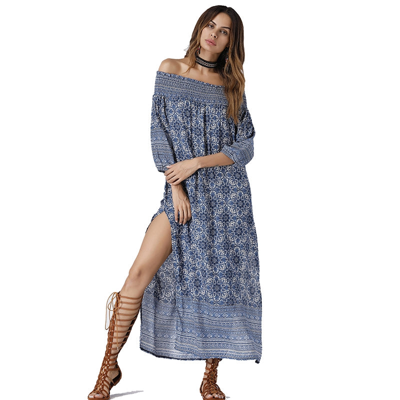 dd914fe44e3c Boho Off Shoulder Maxi Dress - Bohemian Style – 🌸 BOHO JOY 🌸