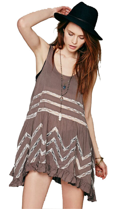 Gypsy Fashion Hippie Style Dress Chiffon Ladies Blue Short Sundress - Hippie BLiss