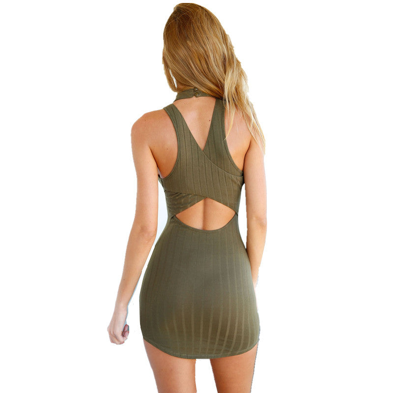 Olive Green Stripped Hatler Bodycon Dress Mini Club Dress