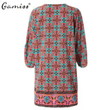 Women Vintage Ethnic Dress Brand Baroque Style Floral Print
