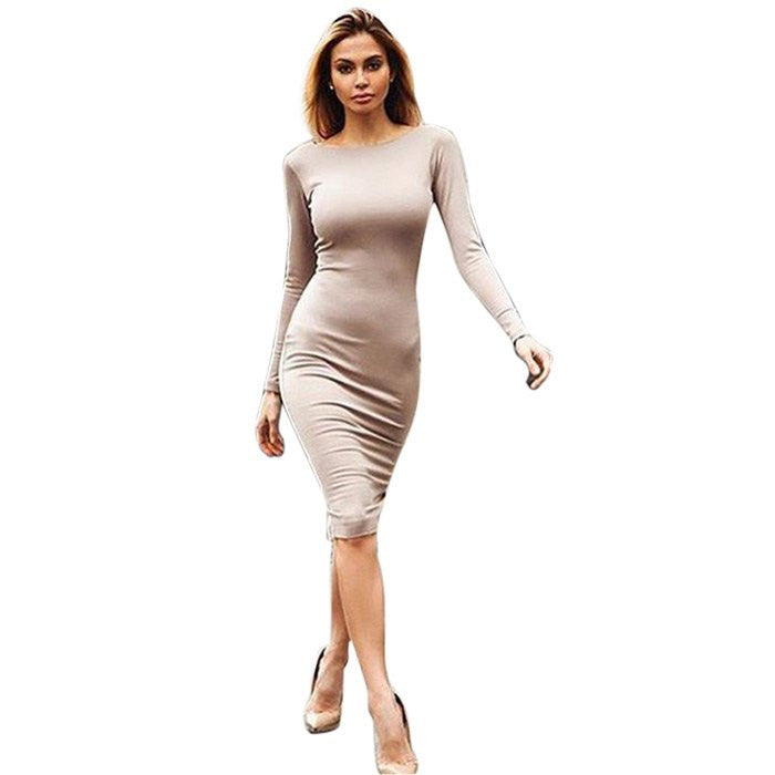 Bodycon Sheath Dress Long Sleeve Party Dresses Gold Zipper Detail