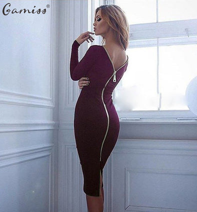 Bodycon Sheath Dress Long Sleeve Party Dresses Gold Zipper Detail - Hippie BLiss