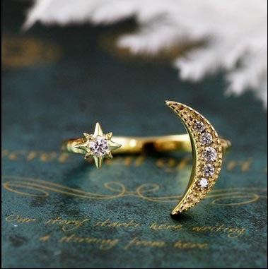 Moon Star Crystal Adjustable rings - Hippie BLiss