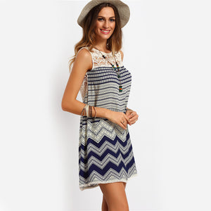 Mini Dresses Beach Women Striped Multicolor Sleeveless Print Lace Yoke Shift Loose Tank Boho Sexy Rayon Dress