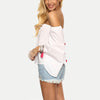 Women Summer Tops Clothing Ladies Plain White Off The Shoulder Long Flare Sleeve Pom Pom Trim Blouse