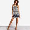 Mini Dresses Beach Women Striped Multicolor Sleeveless Print Lace Yoke Shift Loose Tank Boho Sexy Rayon Dress - Hippie BLiss