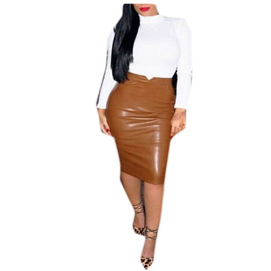 Women PU Leather Long Skirt Solid Color High Waist