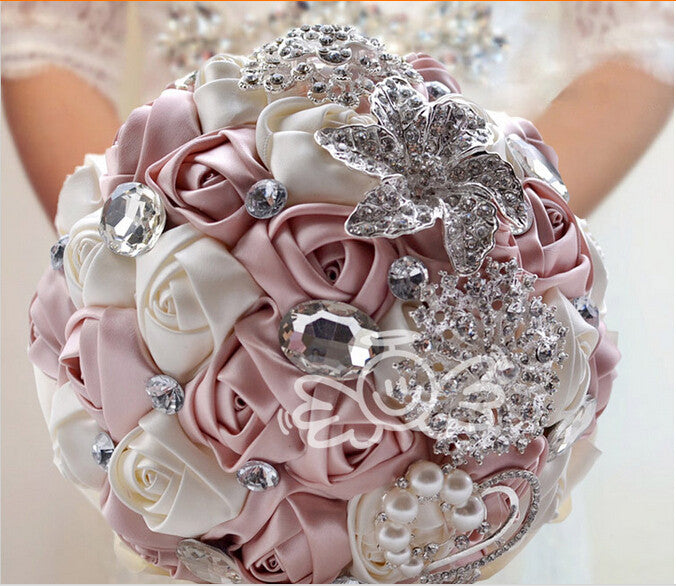 Ivory Pink Hand made Decorative Artificial Rhinestone Bride ...
