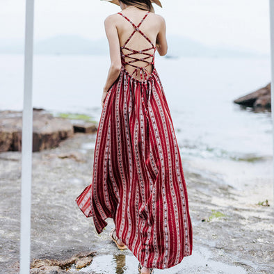 Boho Backless Maxi Dress With Split - Hippie BLiss