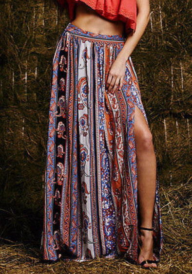 Maxi Summer Skirt Beach Long Casual Skirt Boho Tribal Floral Skirts - Hippie BLiss