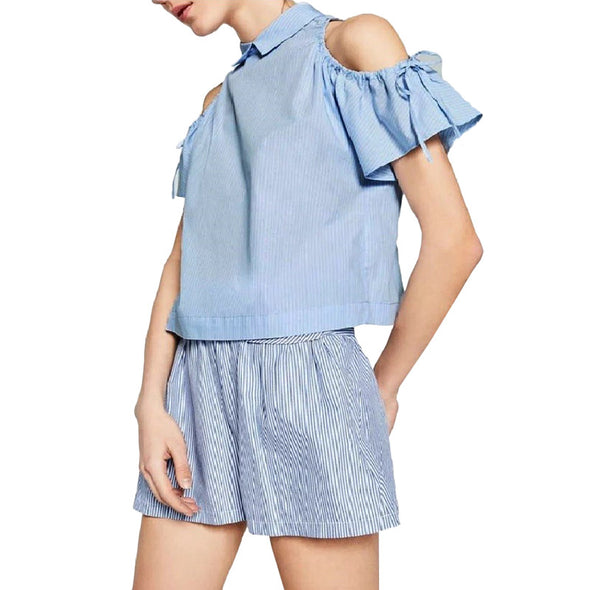 Striped Turn-down Collar Blouses Sexy Off Shoulder Bow Sleeveless Summer Casual Top