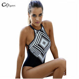 Black Geometry one piece swimsuit high neck - Hippie BLiss
