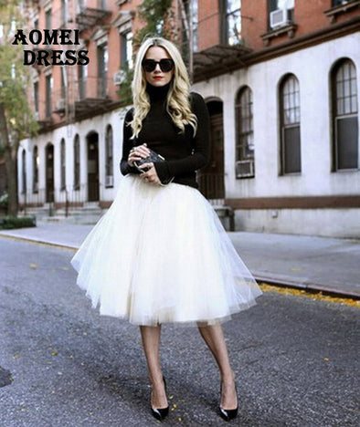 Women Chiffon Tulle Skirt White High waist Midi Knee Length plus size