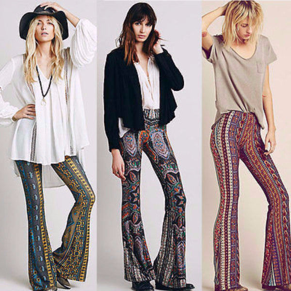 59929f8ff Bell Bottom Trousers Paisley Print Stretch Flare Boho Hippie Style Pan –  BoohooPearl