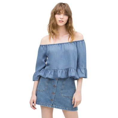 Summer Peplum Denim blouse Flare Sleeve Shoulder Off Slash Neck Ruffle casual shirts Tops