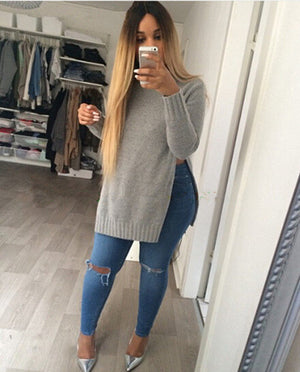Long Sleeve O-Neck Side Slit Knitted Pullover Casual Long Sweater - Hippie BLiss