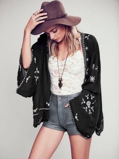 Boho Floral Embroidered Women Kimono Cardigan Long Sleeve Blouses Loose Tops - Hippie BLiss