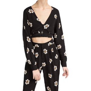 Floral Print Blouse Black Backless Long Sleeve V-Neck Bow Vintage Casual Crop Tops Shirts - Hippie BLiss
