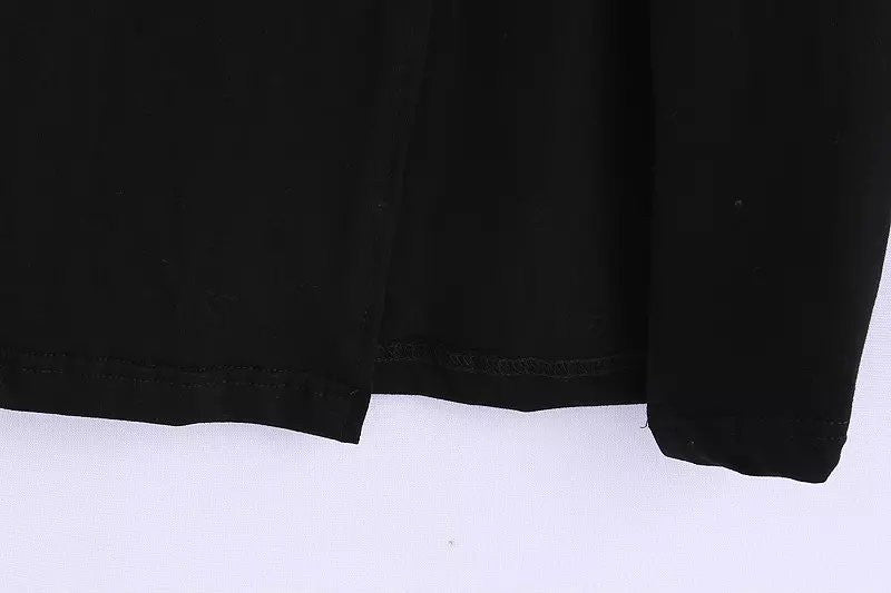 Sexy Black Ankle-Length side open button stretch Elastic waist Skirts lady