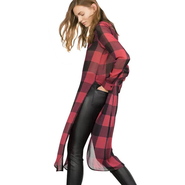 Red chiffon Plaid print Long Blouses Turn-down collar long sleeve Side Open button shirts