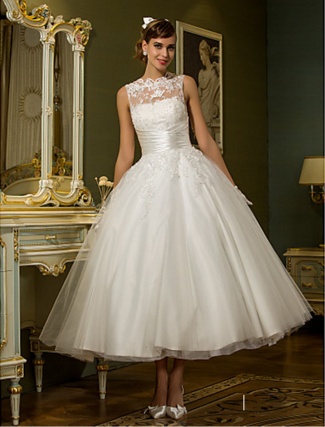 Princess Plus Sizes / Petite Wedding Dress Ankle length Jewel Tulle