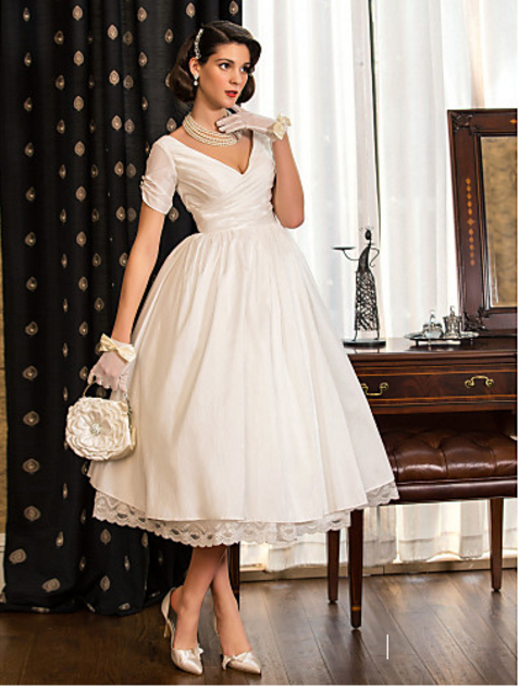 Lanting Bride A-line Princess Petite Plus Sizes Wedding Dress Tea length  V-neck Taffeta