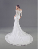 OFF SHOULDER 3/4 SLEEVES BOHO WEDDING LACE DRESS BOHO BRIDESMAID DRESSES