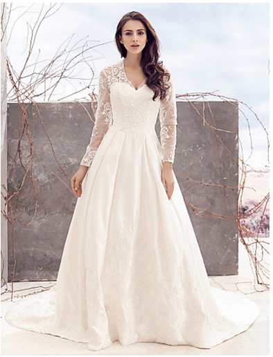 PLUS SIZE LING SLEEVE LACE BOHO WEDDING A LINE PLUS SIZE WEDDING DRESS -