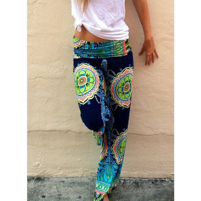 Boho Print Vintage Loose Straight-Leg Long Pants Trousers - Hippie BLiss
