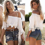 Casual Boho Lace Off Shoulder Shirt Summer Crop top - Hippie BLiss