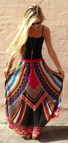 Boho Ethnic style Long Maxi Evening Party Beach Skirt - Hippie BLiss