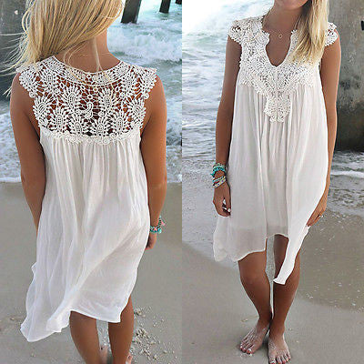 Women Summer Lace Beach Boho Sleeveless Party Mini Dress