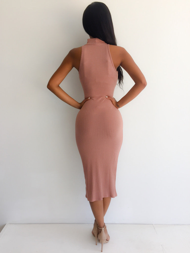 Nude Sweater Pencil Dress - Turtle Necklace Bodycon Dress - Fitted Dress