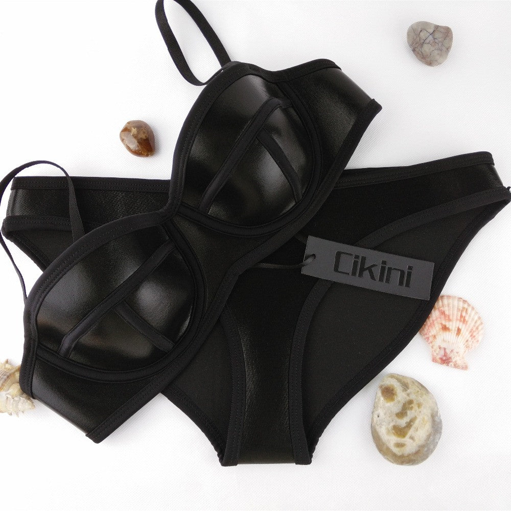 Neoprene Triangle Bikinis Set Swimsuit Up Bikini set