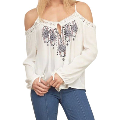 Boho Chic Embroidery Blouse Lace Off Shoulder Long Sleeve Vintage Casual Tops Shirts - Hippie BLiss