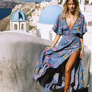 Boho Dress Sexy V-neck Tassel Bohemia Long Dresses - Hippie BLiss