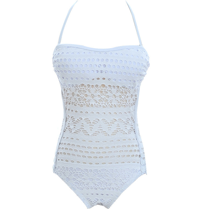 Women One Piece Crochet Swimsuit Swimwear
