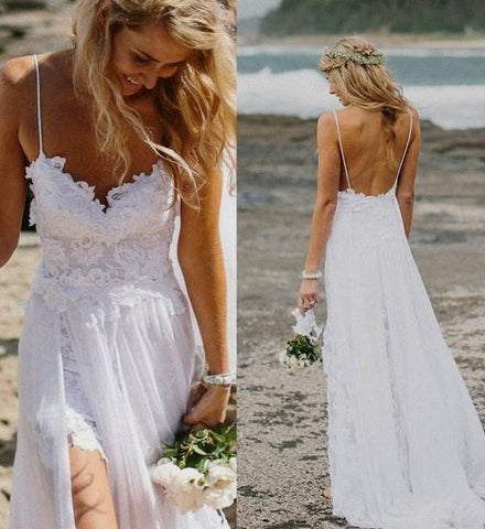 Bohemian Lace and Rhinestone Wedding Dress