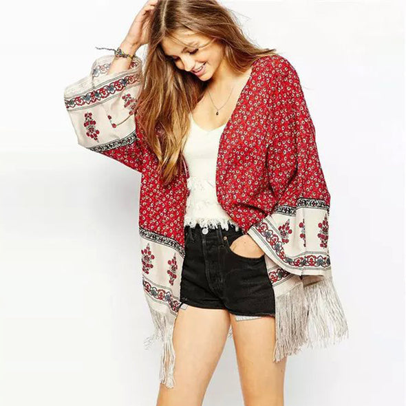 Boho Red Floral Print Tassel Fringed Hem - Hippie BLiss
